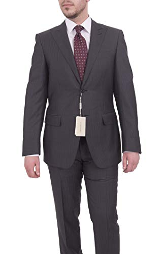 Canali Slim Fit 38r 48 Drop 8 Gray Pinstriped Two Button Wool Suit ()
