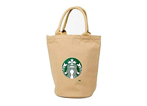 Starbucks New Logo Canvas Anywhere Tote Bag, Shopping Lunch Bag Limited Edition Authentic (Khaki)