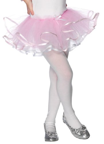 Girls White And Pink Reversible Tutu - Enchanted Reversible Ribbon Trimmed Tutu (White/Pink;One Size)