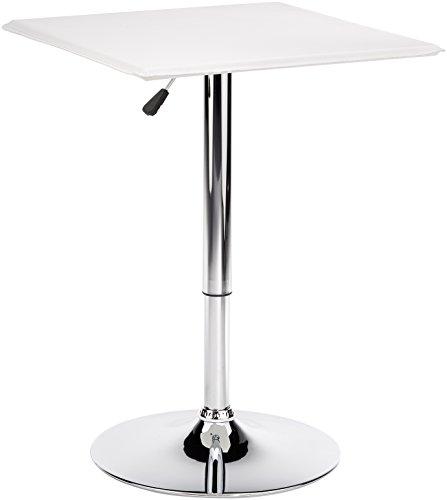Amstyle Design Altona - Mesa Alta con Tablero de DM (60 x 60 cm, con Funda de Cuero de imitacion), Color Blanco