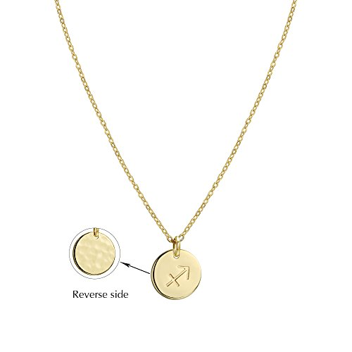 Befettly Constellation Necklace Pendant 14K Gold-Plated Hammered Round Disc Engraved Zodiac Sign Pendant 17.5'' Adjustable Dainty Necklace NK-Sagittarius
