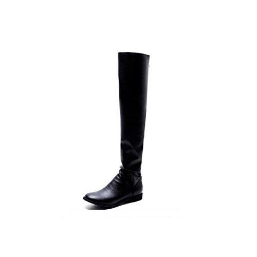 al 36 Quotidiana donne genuino Fold 39 cuoio gli stivali sopra a metà lunghi delle coscia stivali ginocchio wq1w8gZ