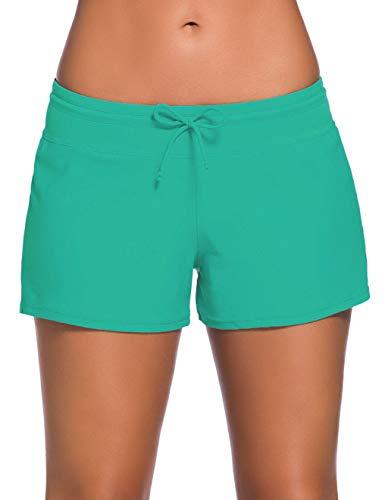 Boy Cut Swimwear - ChinFun Board Shorts Women's Swimswear Tankini Swim Briefs Side Split Swimsuit Bottom Waistband Stretch Boardshorts Beach Trunks Inner Lining Aquamarine Green Size M