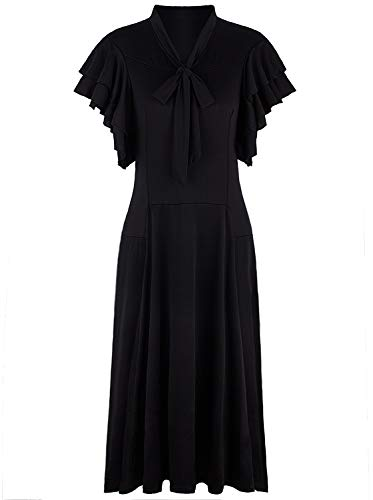 VIJIV Women's Vintage 1920s Black Midi Flapper Dress