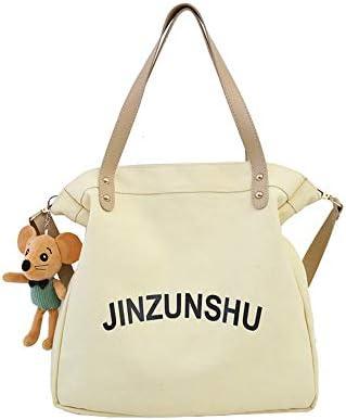 日本と韓国風のキャンバスバケットバッグショルダーバッグ女子高校生大学生ハンドバッグヴィンテージセンスメッセンジャー小さなバッグシンプルでかわいいです (Color : White)