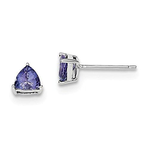 Mia Diamonds 925 Sterling Silver Trillion Tanzanite Post Earrings (7mm x -