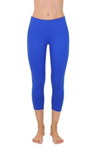 90 Degree By Reflex Yoga Capris - Yoga Capris for Women - Hidden Pocket - Lapis Blue - Large