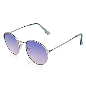 SunnyPro Semi Round Glasses For Women Hippie Hipster Colorful Tint Circle Sunglasses Purple