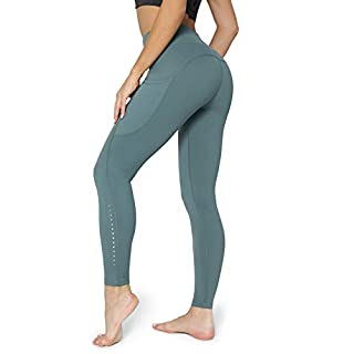 POSHDIVAH Ultra Soft Yoga Pants for Women High Waited Tummy Control Workout Leggings with Pockets Dark Green M