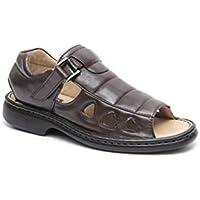 Sandália anti-stress, masculina, super confort, em legitimo couro mestiço(pelica), forrada em napa couro espumada, fechada no calcanhar, solado de borracha (PU) modelo 910MF