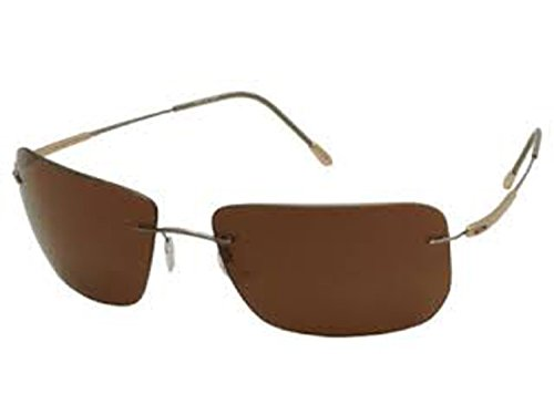 Silhouette Sunglasses Titan Design (8655-6201 gunmetal gold / polarized brown lens, one - Silhouette Sunglasses Titan