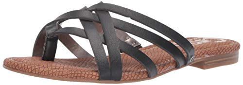 Circus by Sam Edelman Women's Cypress Flat Sandal Black New raw Edge 5.5 M US