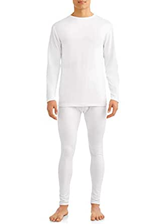 Comfort Fit Men's 2-Piece Microfiber Fleece Lined Thermal Underwear Set top and Bottom (Long Johns) Size 3 XL White