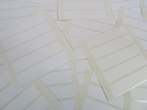 Pack of 75, 70x15mm (2.8 x 0.6 inch) Rectangles, White Paper Labels, Removable Low Tack Adhesive Rectangles, Easy to Remove, Plain Stickers (Rectangle Labels Removable)
