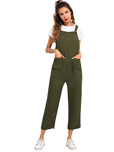 (Verdusa Women's Sleeveless Straps Pockets Plaid Culotte Jumpsuit Overalls Olive XS)