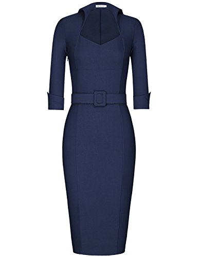 MUXXN Women's 1950s 3/4 Sleeve Elegant Bodycon Lapel Dress Party Cocktail Pencil Dress (S, Blue)