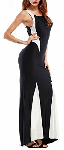 Contrast Maxi Dress Womens Jaycargogo Cocktail Sleeveless Long Color Black qESSAwU