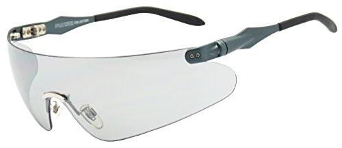 Lightweight Unisex Sports Wrap Sunglasses w/ Super Light Transparent Tinted Shield Lens (Metallic Blue, Transparent Grey) (Metallic Sport Sunglasses)