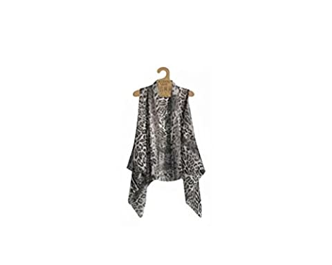 Accents by Lavello Sheer Designer Vest, Charcoal, Leopard Print CHL - Designer Sheer