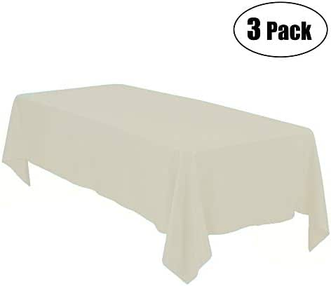 Minel Disposable Party Table Cloths Rectangular 3 Pack Ivory