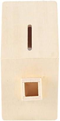 leanBonnie Enfants B/éb/é /À La Main Bricolage Baipi en Bois Coin Maison Tirelire Chalet /Économisez De largent De La Base Art Jouet De Collection Ornement Hot Blanc