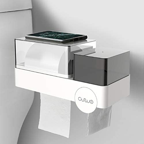 GYCOZ Tissue Box Badezimmer-Gewebe-Kasten-freies Stanzen Papier Rohr Papier Haushalt Wasserdicht Badezimmer Regal Weiß Grau Tissue Box Cover Gesicht (Color : White)