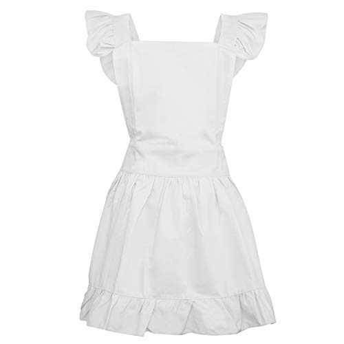 Aspire Cotton Retro Adjustable Ruffle Aprons Kitchen Cooking Adults & Kids Maid Costume-White-Adult XL ()