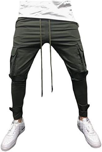 Romancly 男性フィット弾性ウエストストラップ付きポケット固体スポーツパンツ
