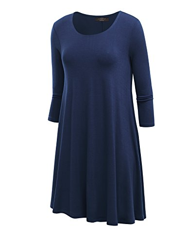 Lock and Love LL Womens Round Neck 3/4 Sleeves Tunic Dress - Made in USA