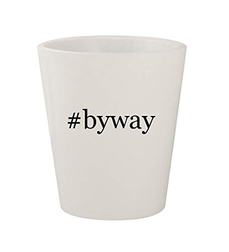 #byway - Ceramic White Hashtag 1.5oz Shot Glass (Best Scenic Drives In Ohio)