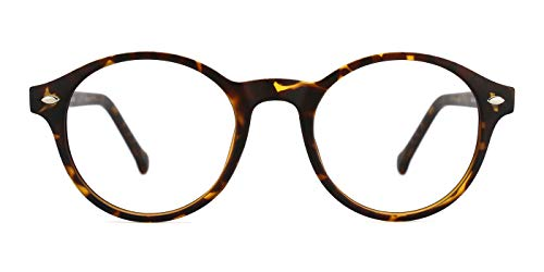 TIJN Men Women Classic Round Non-prescription Frosted Eyeglasses Frame (Tortoise, 48)