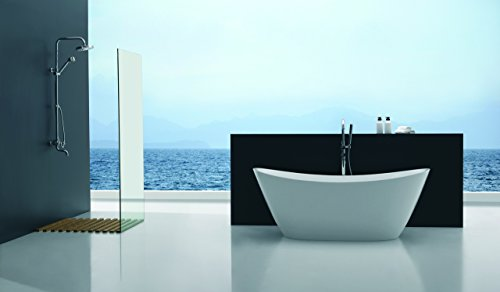 Empava A1518W Luxury Bathroom Freestanding Acrylic Bathtub Soaking Contemporary SPA Tub, White (Soaking Shower Tub compare prices)