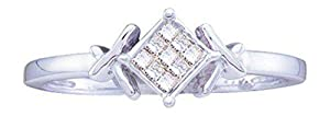 0.12 cttw 14k White Gold Princess Cut Diamond Invisible Set Engagement Ring Love Knot