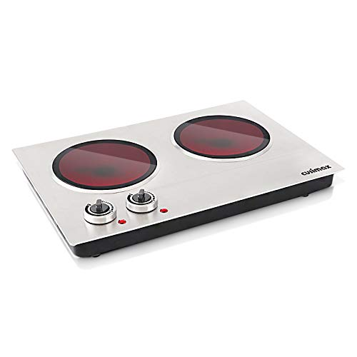 (Cusimax Hot Plate Electric Double Burner Ceramic Infrared Portable Burner Heating Plate Portable Outdoor Electric Stove 1800W with Adjustable Temperature, Non-Slip Rubber Feet, Stainless Steel Easy To Clean, Upgraded Version CMIP-C180)
