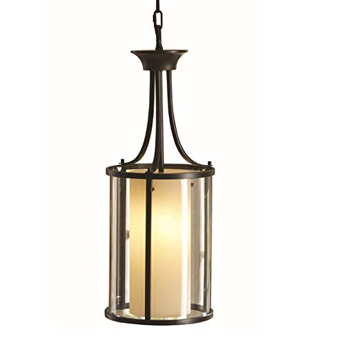 allen + roth Harpwell Oil-Rubbed Bronze Single Traditional Tinted Glass Cylinder Pendant ()