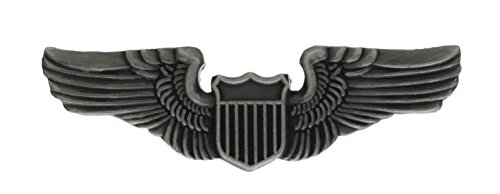 Sujak Military Items Pilot Aviator Wings 1 1/4 inch Hat Lapel Pin Antiqued Silver Tone HON15443