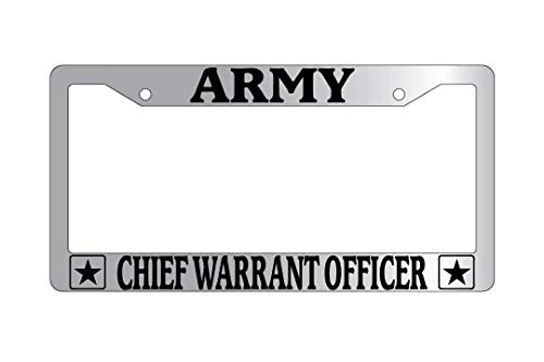Army Chief Warrant Officer License Plate Frame, 2 Holes Auto Car License Plate Frame Tag Holder with Screws Caps, Slim Aluminum Metal for US ()