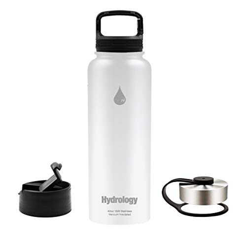 Hydrology Sports Water Bottle - 40 oz with 3 LIDS Double Wall Vacuum Insulated Stainless Steel Hydro Sports Water Bottle Flask - Keeps Cold and HOT (White, 40 - Water Cold Hot