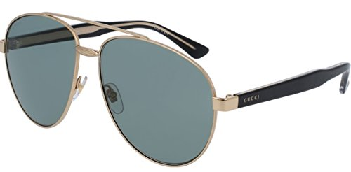 Gucci GG0054S Sunglasses Gold w/Blue Lens 001 GG - Online Glasses Gucci