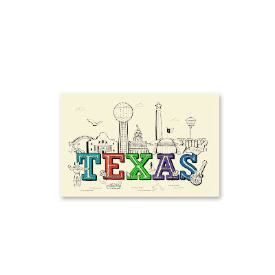 Silver Papery Texas Notecards - Box of 10 -