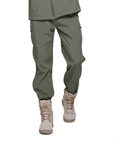 TACVASEN Men Tactical Fleece Lining Waterproof Climbing Hiking Hunting Cargo Pants