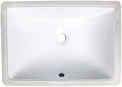 Zeek 16x11 Undermount Bathroom Sink Small Rectangle Narrow Vanity Sink White Fits 18 Inch Vanity Ceramic