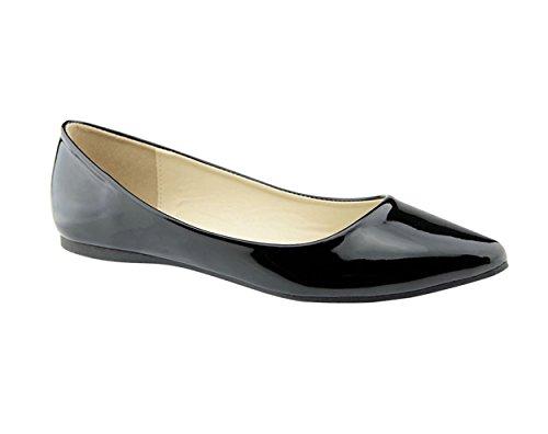 Bella Marie BellaMarie Angie-28 Damen Klassische Zehenspitzen Ballett Flache Schuhe Schwarzes Patent