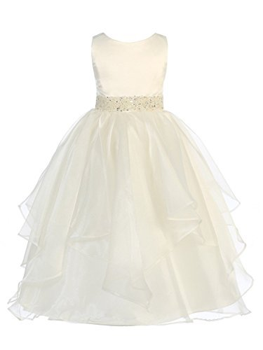 Girls Chic Baby Asymmetric Ruffles Satin/Organza Flower Girl Dress -Ivory-8-(CB302) -