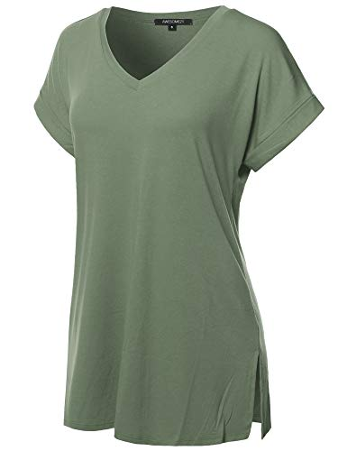 Awesome21 Solid Rolled Up Short Sleeve Over-Sized V-Neck Tunic Top Light Olive L