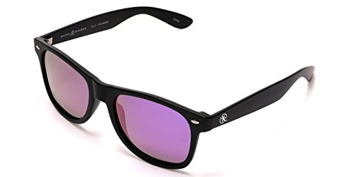Samba Shades Polarized Wayfarer Sunglasses with Carbon Black Frame, Mirrored Lens for Men and - Sunglasses Ocean Eyes
