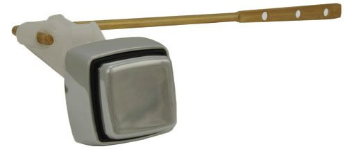 Toilet Tank Lever, Push-button Type, Front Mounted, Satin Nickel Finish _ By Plumb USA