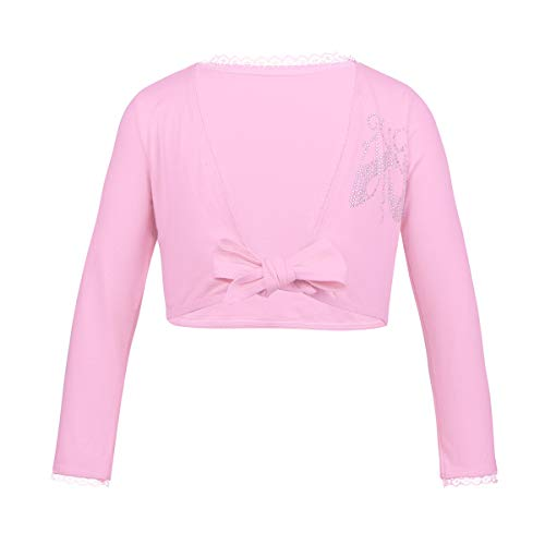 (FEESHOW Kids Girls Classic Long Sleeve Ballet Dance Wrap Knit Cardigan Sweater Tops Cotton Pink 3-4 )