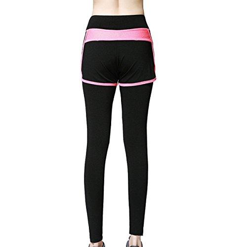 Yoga De Las Mujeres Deporte Al Aire Libre Legging Running Fake Dos Piezas De Pantalones Apretados Red