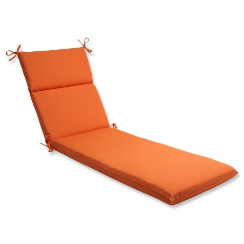 Pillow Perfect Indoor/Outdoor Chaise Lounge Cushion with Sunbrella Canvas Tangerine Fabric, 72.5 in. L X 21 in. W X 3 in. D